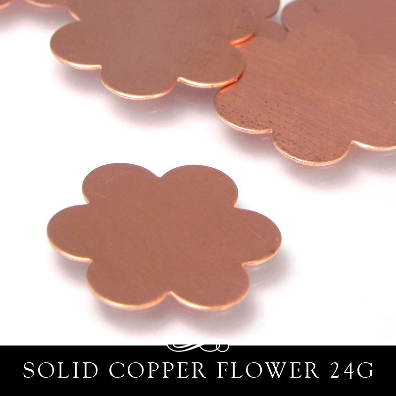 Copper Metal Stamping Blank 24G Petal Flower