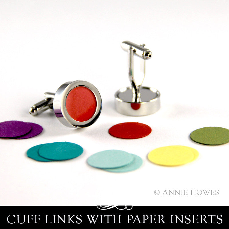 Photo Cuff Links with Colorful Paper Inserts