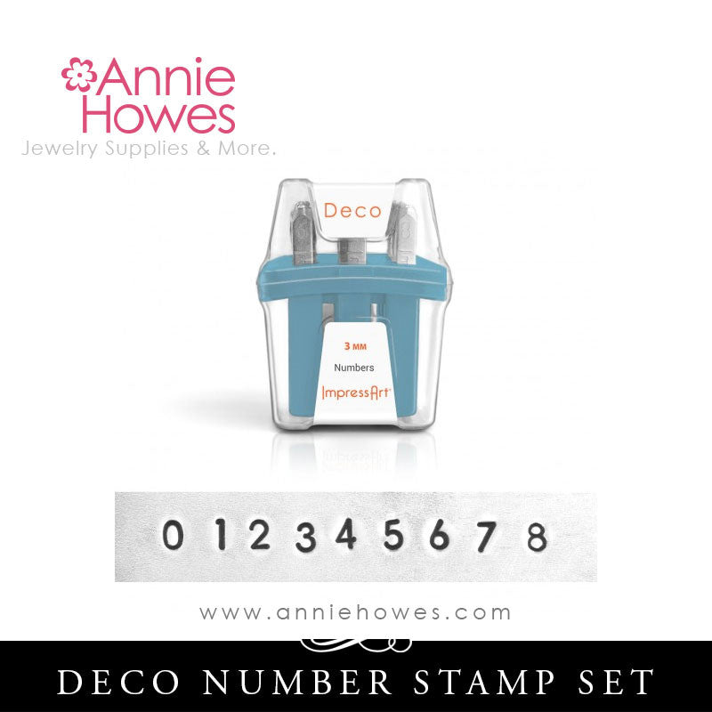 Impressart Metal Stamps - Deco Alphabet Stamp Numbers Set 3mm
