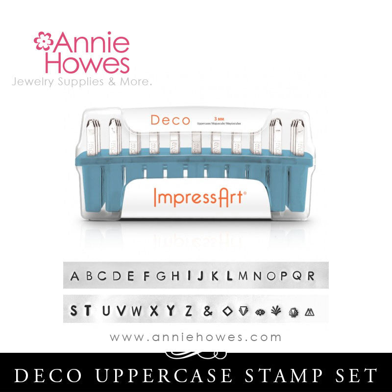 Impressart Metal Stamps - Deco Alphabet Stamp Uppercase Set 3mm