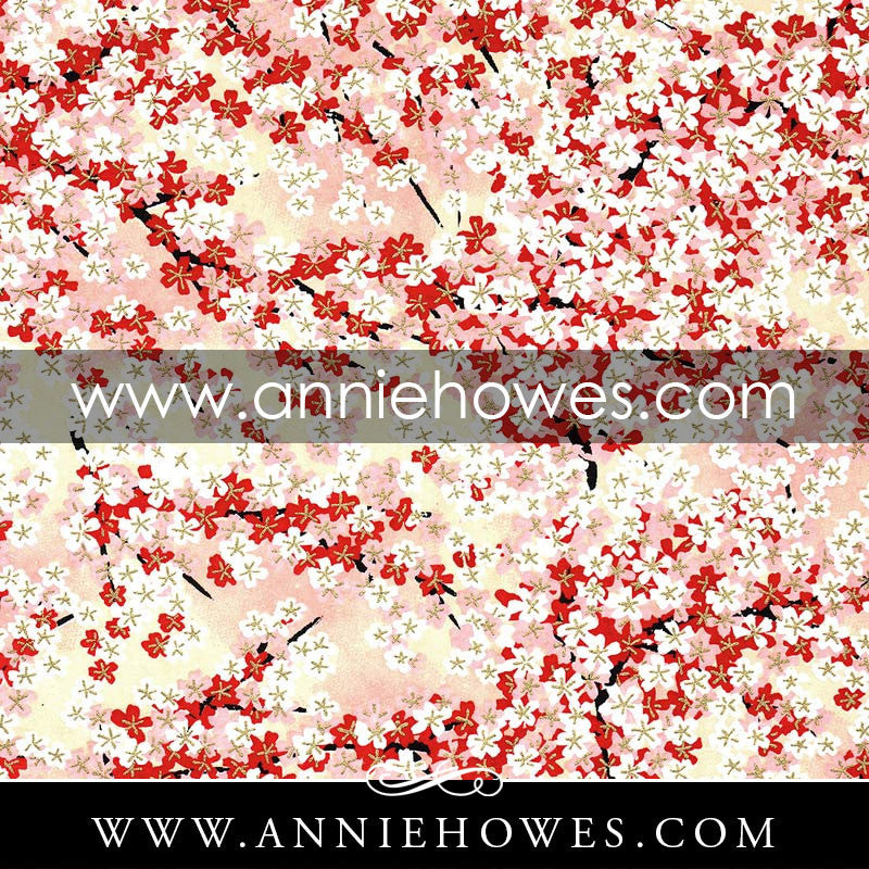 "Chiyogami Paper - Red, Pink, and White Dainty Blossoms with Gold Accents 4"" x 6"" sheet. (008)"