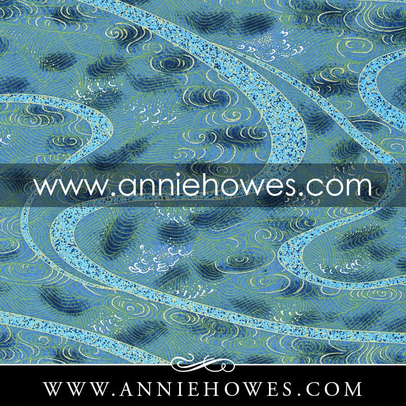 "Chiyogami Paper - Water Swirls on Blue with Gold Accents 4"" x 6"" sheet. (013)"
