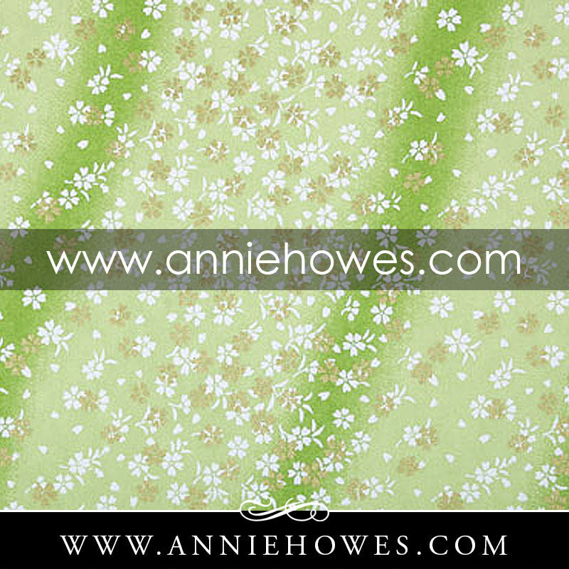 "Chiyogami Paper - Dainty White and Gold Flowers on Green 4"" x 6"" sheet. (014)"