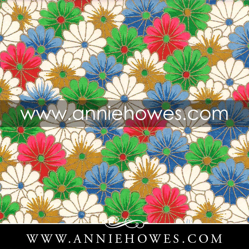 "Chiyogami Paper - Colorful Mum Flower Pattern 4"" x 6"" sheet. (021)"