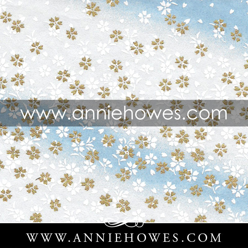 "Chiyogami Paper - Dainty White and Gold Flowers on Blue 4"" x 6"" sheet. (025)"