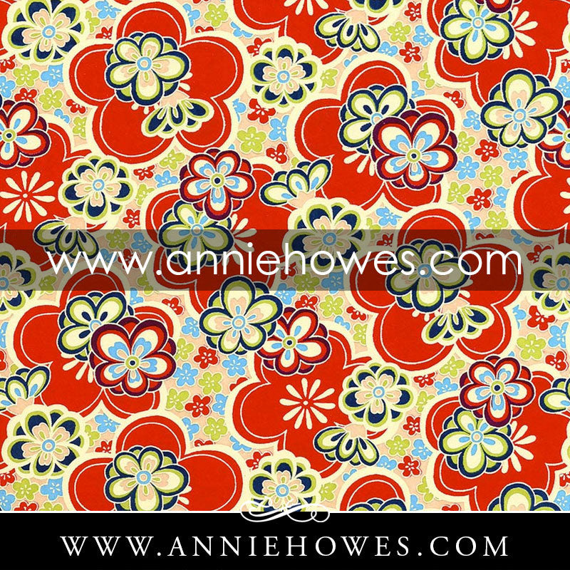 "Chiyogami Paper - Large Flowers in Red and Blue 4"" x 6"" sheet. (028)"