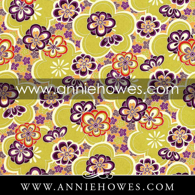 "Chiyogami Paper - Large Flowers in Purple and Green 4"" x 6"" sheet. (029)"