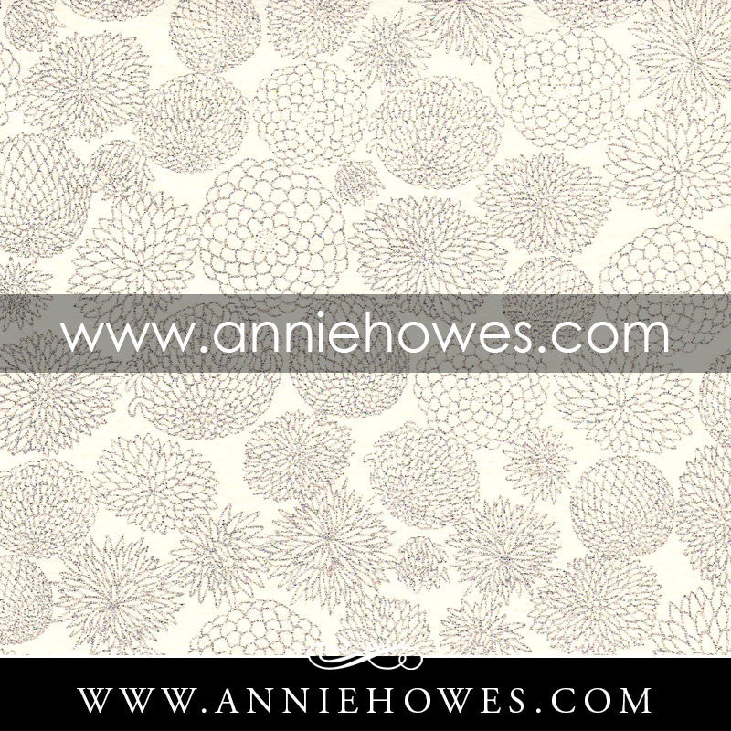 "Chiyogami Paper - Button Mums on Ivory 4"" x 6"" sheet. (043)"