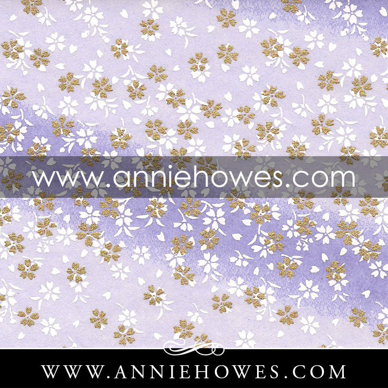 "Chiyogami Paper - Dainty White Flowers on Purple 4"" x 6"" sheet. (046)"