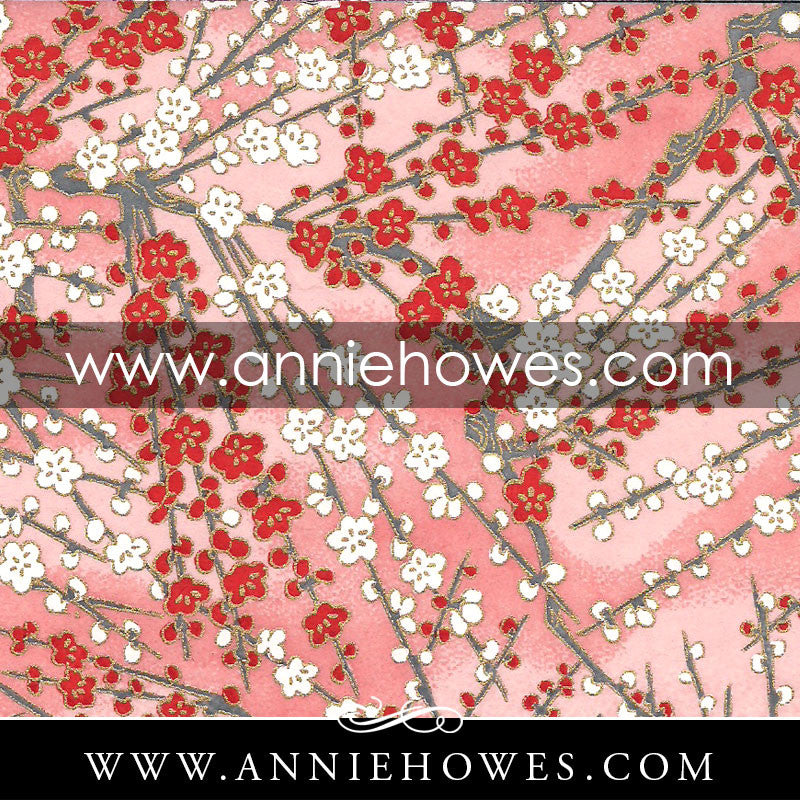 "Chiyogami Paper - Branches with Blossoms on Pink 4"" x 6"" sheet. (049)"