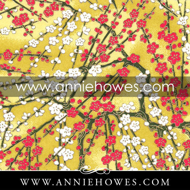 "Chiyogami Paper - Branches with Blossoms on Yellow 4"" x 6"" sheet. (050)"