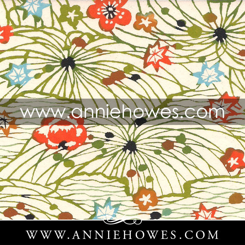 "Katazome-shi Paper - Fields with Blossoms in Green and Orange 4"" x 6"" sheet. (052)"