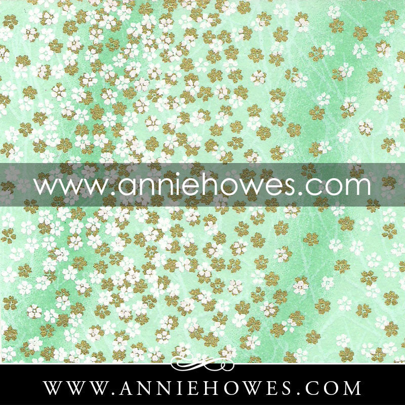 "Chiyogami Paper - Tiny Blossoms on Green 4"" x 6"" sheet. (056)"