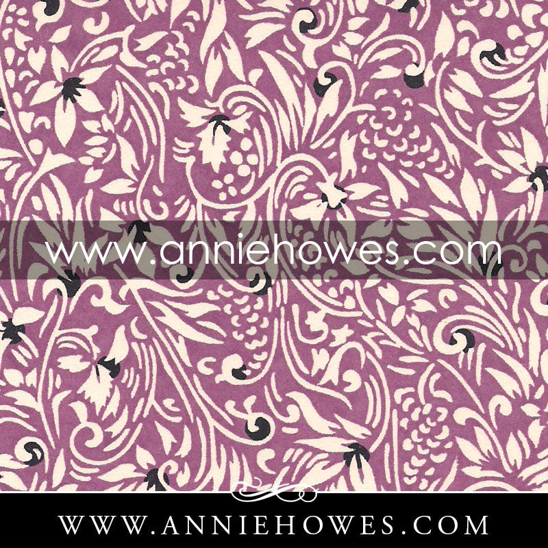 "Chiyogami Paper - Classic Floral on Purple. 4"" x 6"" sheet. (058)"