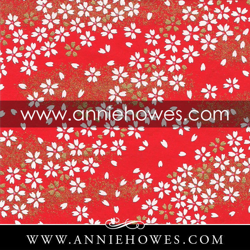 "Chiyogami Paper - Dainty White Flowers on Red. 4"" x 6"" sheet. (060)"