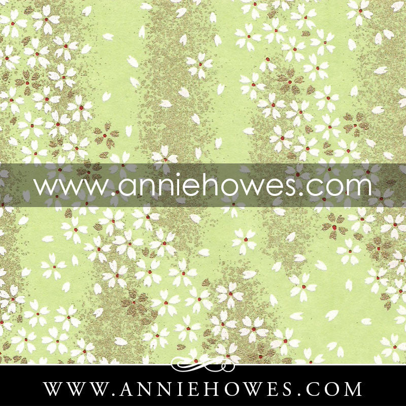 "Chiyogami Paper - Dainty White Flowers on Green. 4"" x 6"" sheet. (061)"