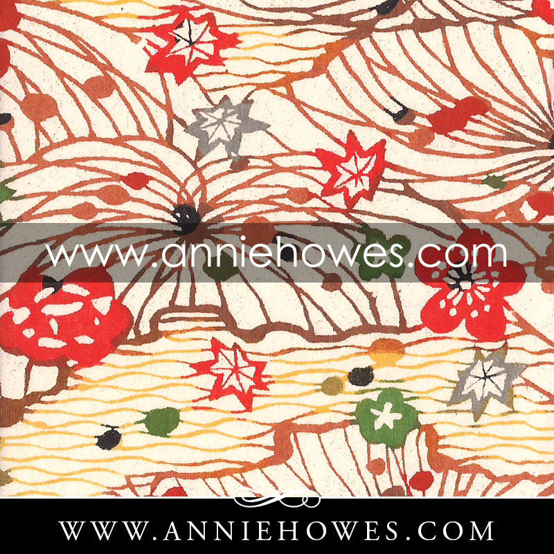 "Katazome-shi Paper - Fields with Blossoms in Red and Orange 4"" x 6"" sheet. (067)"