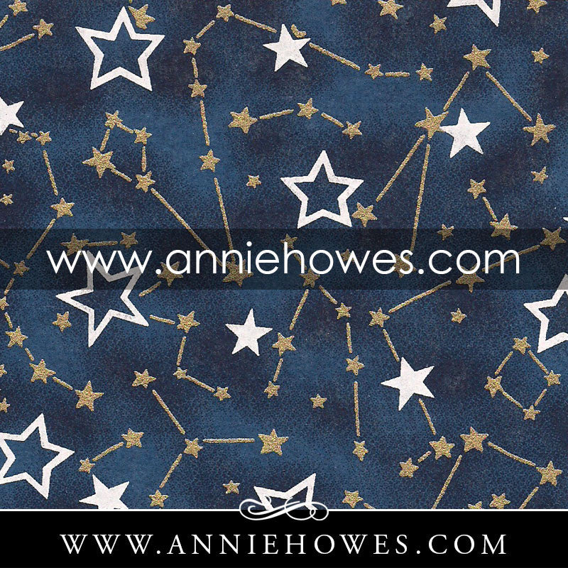 "Chiyogami Paper - Stars on Blue Night Sky 4"" x 6"" sheet. (071)"