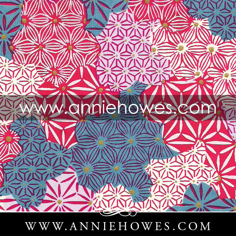 "Chiyogami Paper - Geometric Patterns in Pink and Blue 4"" x 6"" sheet. (073)"