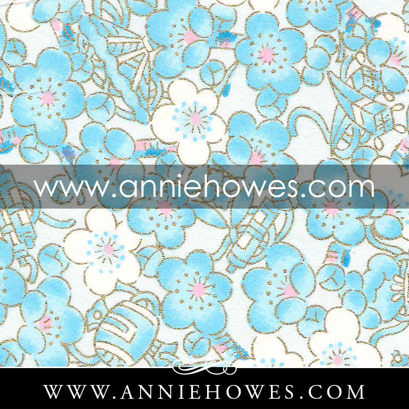 "Chiyogami Paper - Blossoms in Blue 4"" x 6"" sheet. (075)"