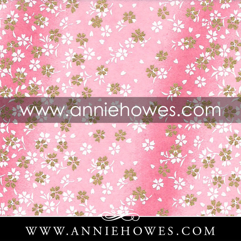 "Chiyogami Paper - Dainty Blossoms in White and Gold on Pink 4"" x 6"" sheet. (076)"
