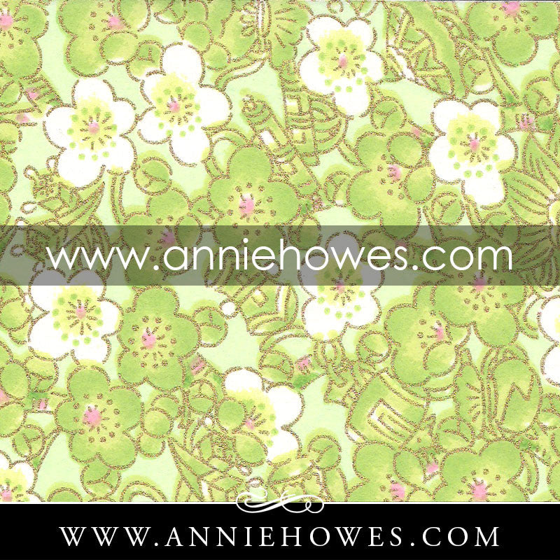 "Chiyogami Paper - Blossoms in Green 4"" x 6"" sheet. (077)"