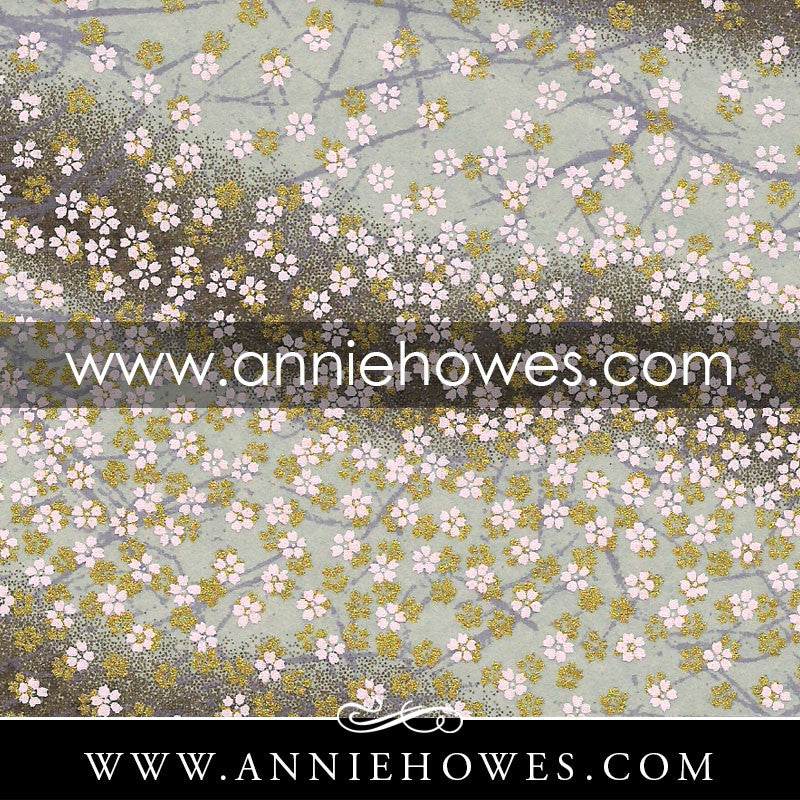 "Chiyogami Paper - Dainty Blossoms in White and Gold on Brown 4"" x 6"" sheet. (078)"