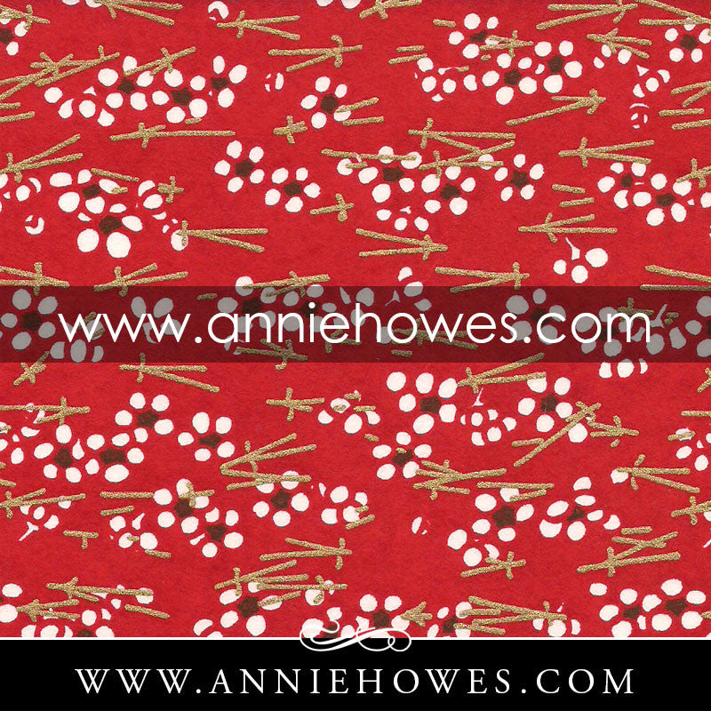 "Chiyogami Paper - Chopsticks on Red 4"" x 6"" sheet. (079)"