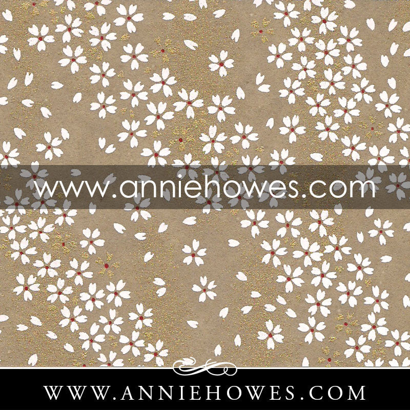 "Chiyogami Paper - Dainty White Flowers on Taupe 4"" x 6"" sheet. (084)"