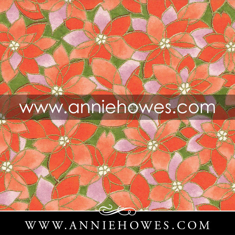 "Chiyogami Paper - Flower Patch in Orange 4"" x 6"" sheet. (101)"