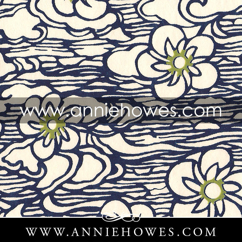 "Katazome-shi Paper - Stream with Flowers in Blue  4"" x 6"" sheet. (108)"
