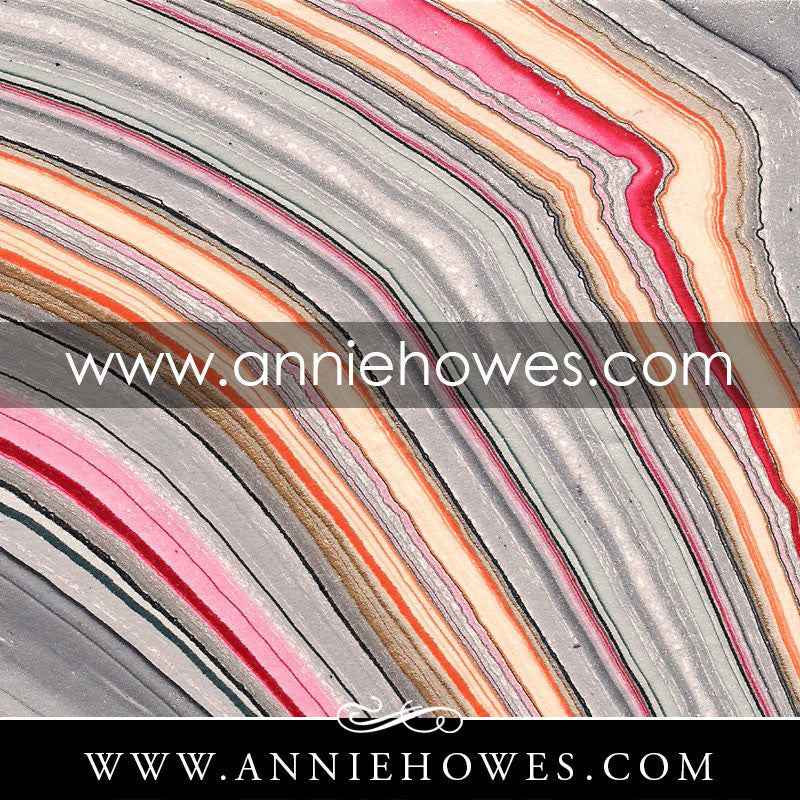 "Marbled Paper - Gray, Apricot & Raspberry 4"" x 6"" sheet. (130)"