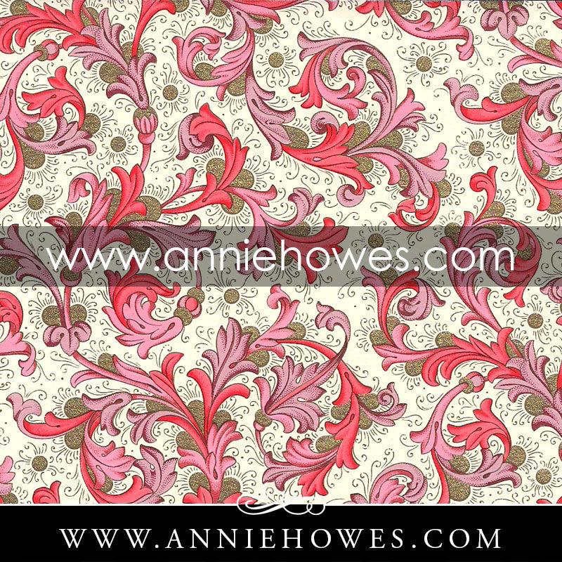 "Florentine Paper - Classic Pink Flourishes  4"" x 6"" sheet. (146)"