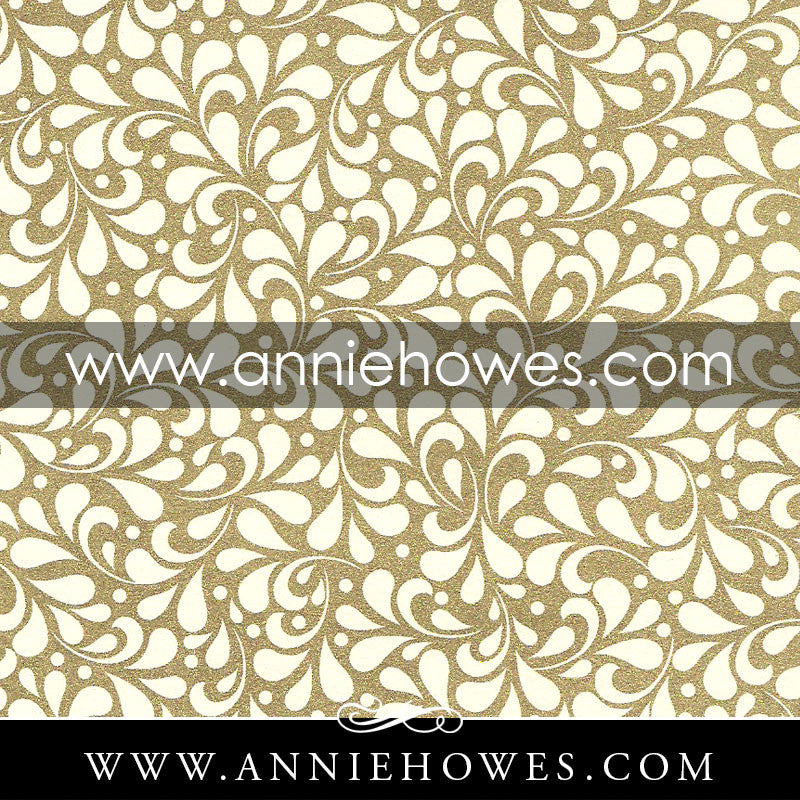 "Florentine Paper - Gold on White Floral Pattern  4"" x 6"" sheet. (148)"