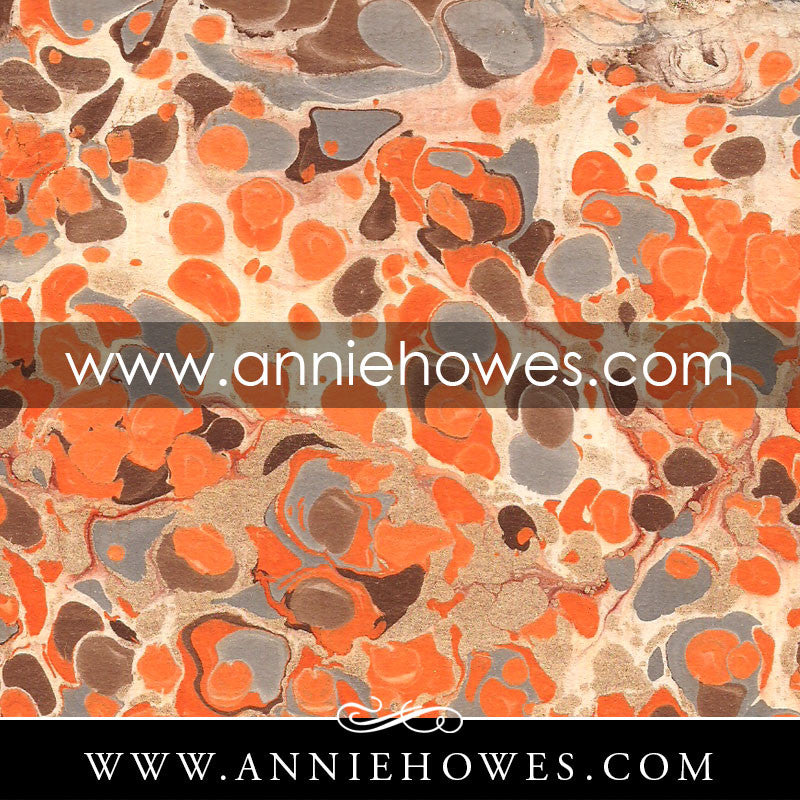 "Florentine Paper - Marbled Italian in Orange Spots 4"" x 6"" sheet. (157)"