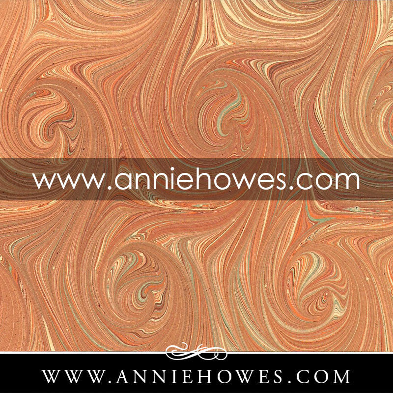 "Florentine Paper - Marbled Swirled Italian in Orange and Grey 4"" x 6"" sheet. (160)"