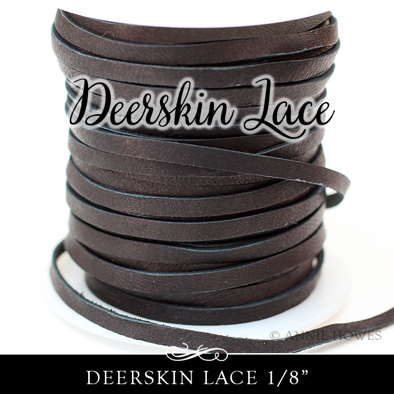 Deerskin Lace Leather 3mm - 1/8 Inch Black - 50 ft Spool