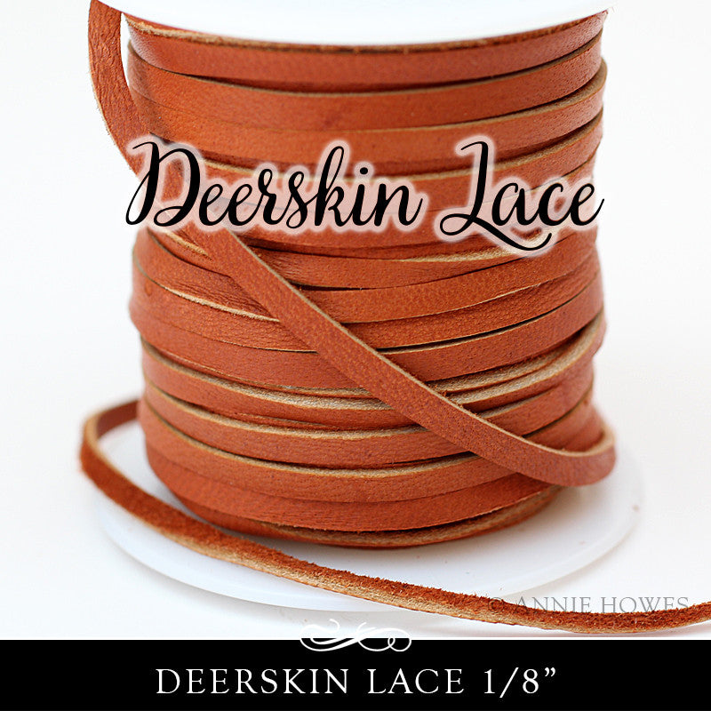 Deerskin Lace Leather 3mm - 1/8 Inch Saddle - 50 ft Spool