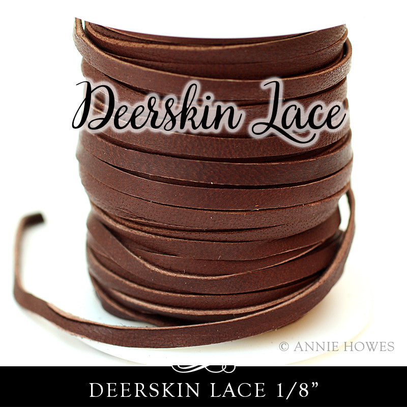Deerskin Lace Leather 3mm - 1/8 Inch Chocolate Brown - 50 ft Spool