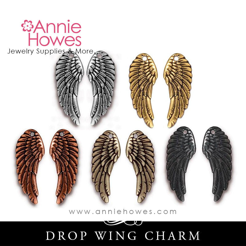 Angel Wing Charm. Drop Wing. TierraCast.