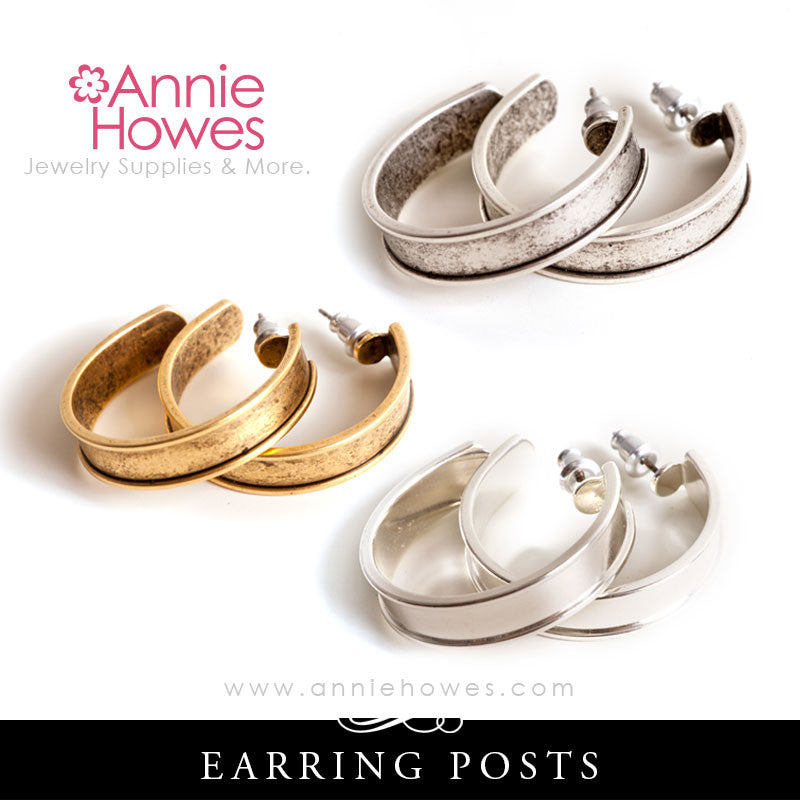 Hoop Earrings, Post-Style with Channel - Nunn Design EPC Color Options