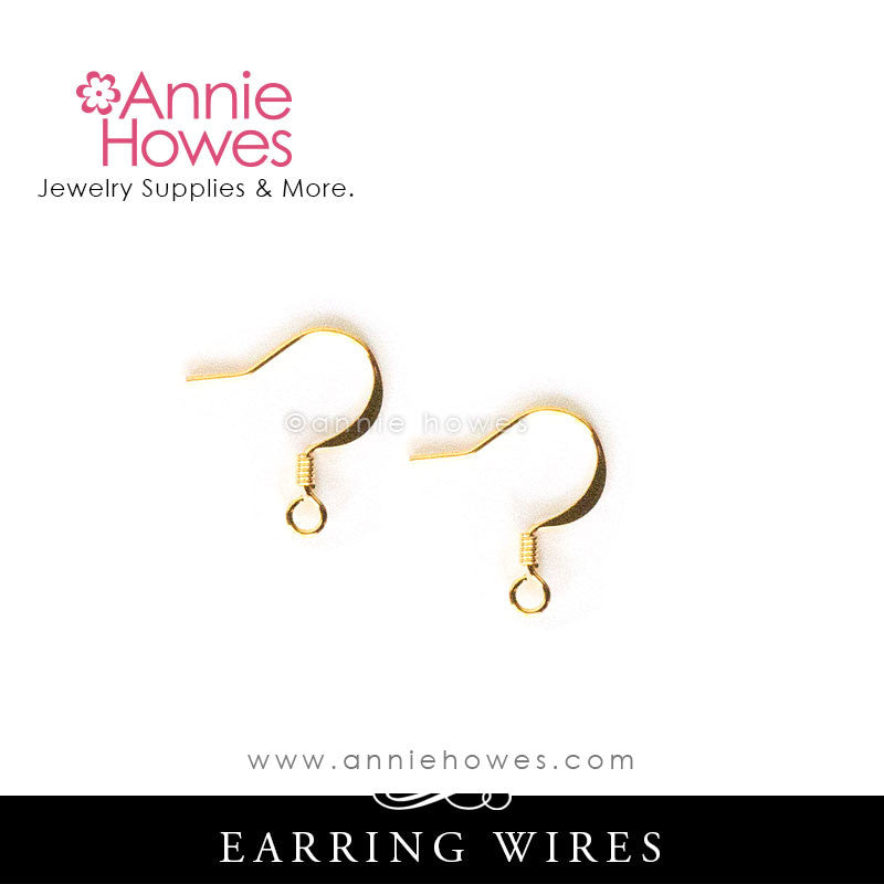 Annie Howes - Earring Wires in Gold Plated Brass. Fishhook style. 17mm.