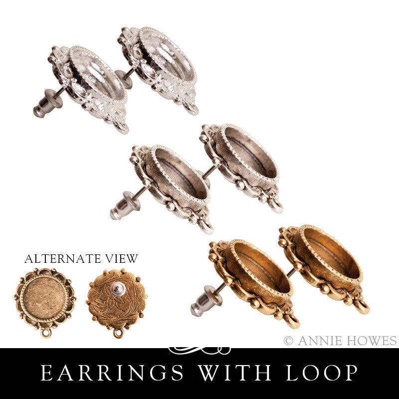 Earring Blanks. Post Style Ornate with Loop. Nunn Design.