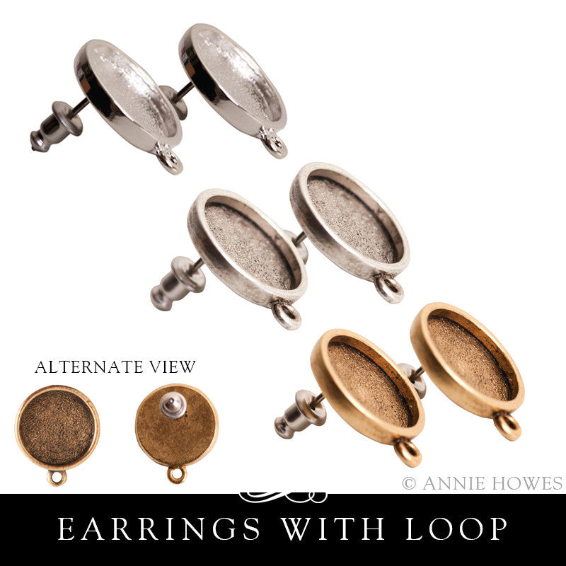 Earring Blanks. Post Style with Loop. Nunn Design.
