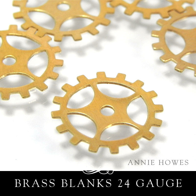 Brass Metal Stamping Blank 24G 3/4 Inch Gear with Spoke.