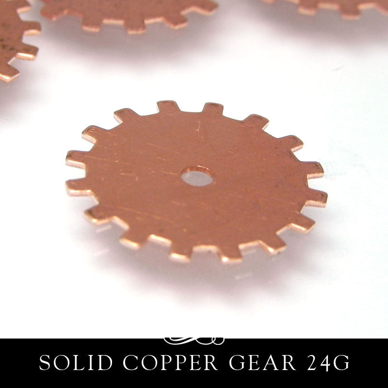 Copper Metal Stamping Blank 24G 20mm 3/4 Inch Solid Gear
