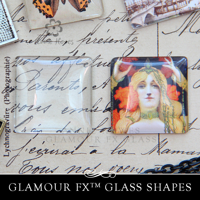 GFX-Glamour FX Glass 1 Inch Squares Domed