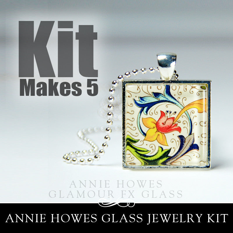 Glass & Pendant Tray Necklace Kit - 1 Inch Square