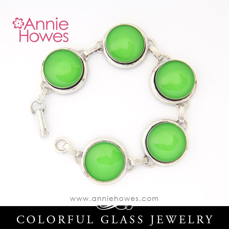 Colorful Glass Cabochon Bracelet - Antique Silver