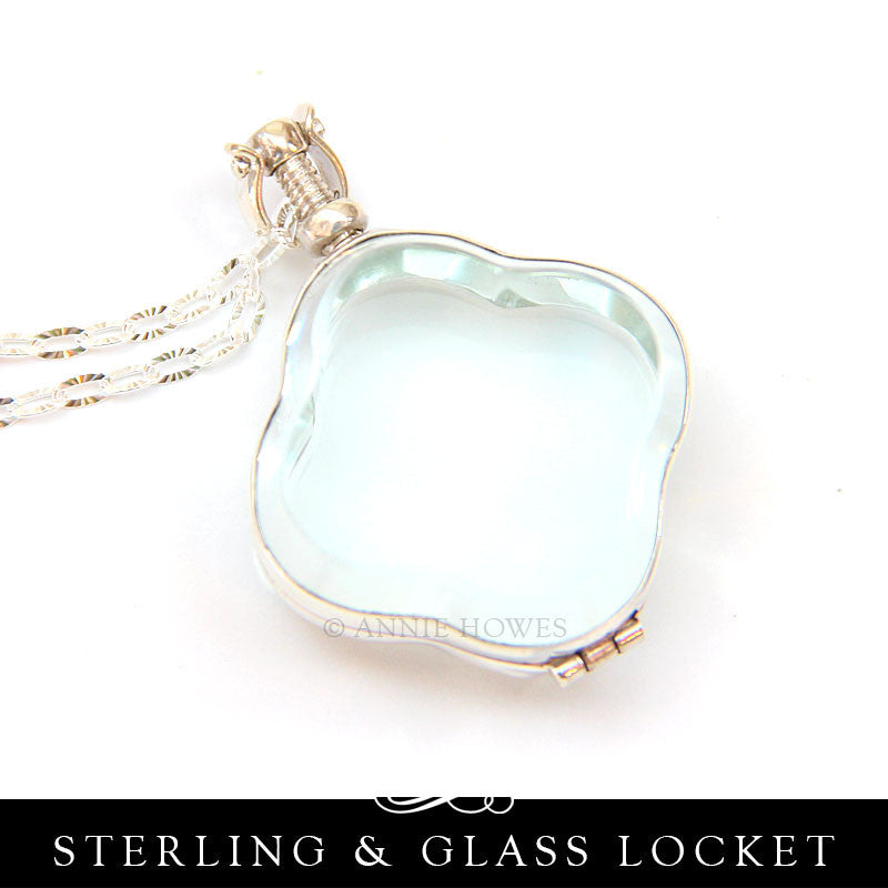 Sterling Silver and Glass Locket - Trefoil or Clover Shape